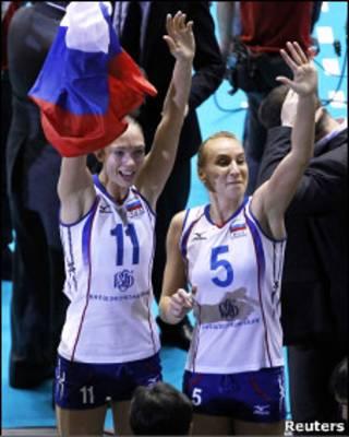 Волейболистки сборной России - Екатерина Гамова и Любовь Соколова