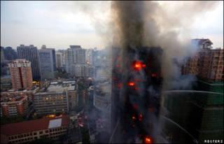 حريق في شنغهاي