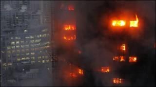 Tòa căn hộ 28 tầng bị cháy ở Thượng Hải