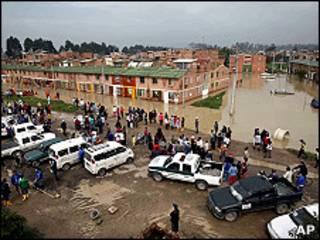Barrio inundado en el sur de Bogotá