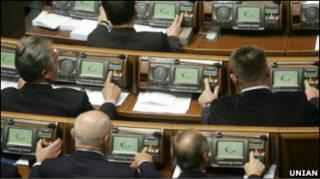 Депутати голосують за вибори 2012