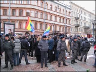 Пикет гей-активистов в Санкт_Петербурге (фото Валерия Панкрашина)