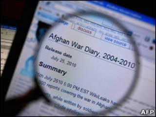 Увеличительное стекло поднесено к экрану компьютера, показывающему документы о войне в Афганистане на сайте Wikileaks