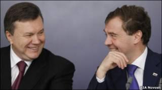 Виктор Янукович и Дмитрий Медведев на переговорах в Москве 26 ноября 2010 г.
