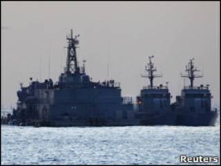 سفن حربية في المياه الكورية