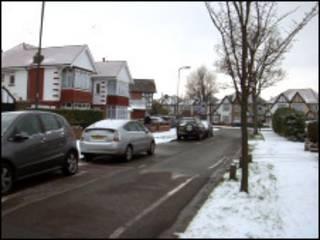 伦敦街道雪景