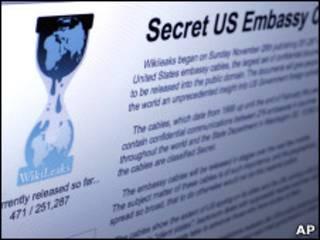 Экран со страницей сайта Wikileaks