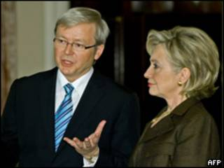 澳大利亚前总理陆克文和美国国务卿希拉里(24/03/2009)