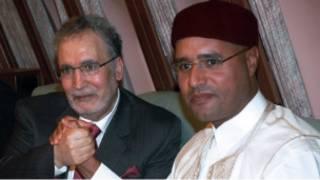 عبد الباسط المقرحي (يسار) مع سيف الإسلام القذافي