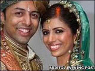 O casal Dewani em foto de casamento