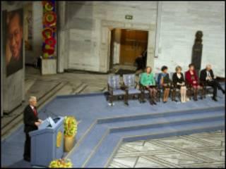 諾貝爾和平獎委員會主席亞格蘭德在周五的頒獎儀式上