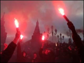 Фанаты на Манежной площади