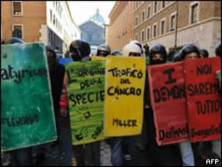 Jovens protestam em Roma