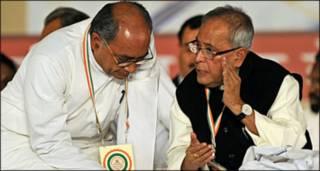 दिग्विजय सिंह और प्रणब मुखर्जी कांग्रेस अधिवेशन में