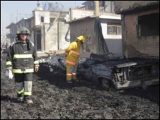 اثار حريق انفجار انبوب نفط المكسيك