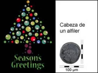 Tarjeta navideña hecha por medio de la nanotecnología (Gráfico de la Universidad de Glasgow)