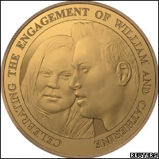 Эскиз памятной монеты в честь помолвки принца Уильяма