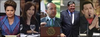 Presidentas de Brasil, Dilma Rousseff, y de Argentina, Cristina Fernández, y los presidentes de México, Vicente Calderón, Perú, Alan García, y Venezuela, Hugo Chávez