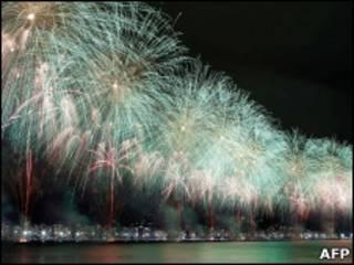 Fogos na passagem do ano em Copacabana