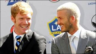 Beckham (right) agreed to join Lalas (left) at LA Galaxy in January 2007