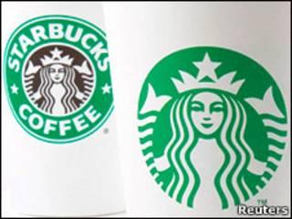 Старый и новый логотип Starbucks
