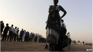 مشاركون في استفتاء تقرير مصير جنوب السودان