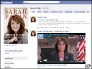 Страница Сары Пэйлин в социальной сети Facebook