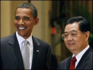 هو جین تائو در دیدار با باراک اوباما