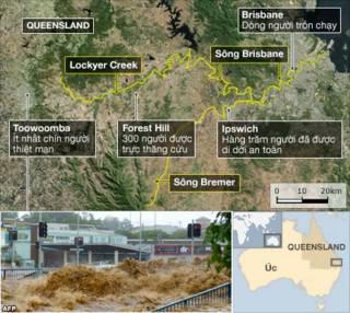 Lũ đang đổ về Brisbane, thành phố lớn thứ ba tại Úc