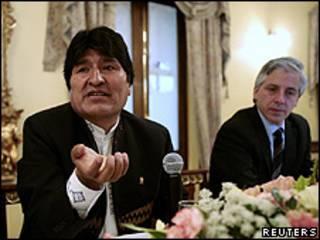 Evo Morales, presidente de Bolivia, y Alvaro García Linera, vicepresidente de Bolivia
