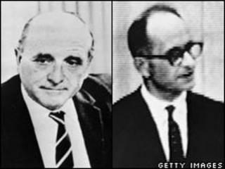 Klaus Barbie en 1972 y Adolf Eichman en 1961