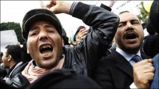تظاهرکنندگان تونسی