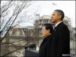 Hu Jintao e Barack Obama em Washington/Reuters