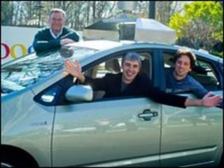 Машина с основателями Google