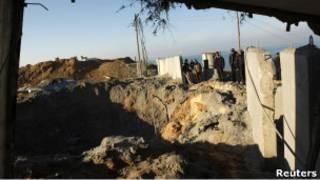 آثار قصف على غزة