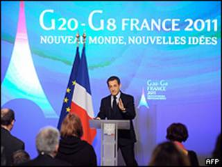 Presidente Sarkozy durante discurso de posse da França na presidência do G20 e G8 (AFP)