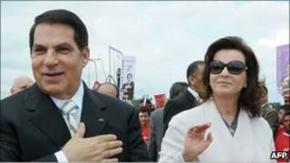 الرئيس التونسي المخلوع، زين العابدين بن علي، وزوجته، ليلي الطرابلسي