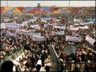 Manifestantes no Iêmen