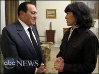 Хосни Мубарак и Кристиан Аманпур