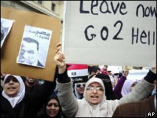 Protesto anti-Mubarak em Alexandria, nesta sexta