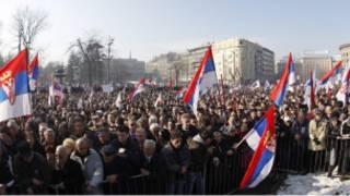 مظاهرات شعبية حاشدة في بلغراد