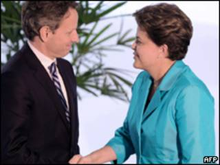 Geithner com Dilma Rousseff