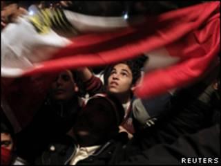 Manifestantes na Praça Tahrir, no Cairo