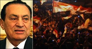 होस्नी मुबारक और प्रदर्शनकारियों का जश्न