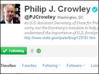 美國國務院發言人克勞利在社交網站「推特」(Twitter)上留言