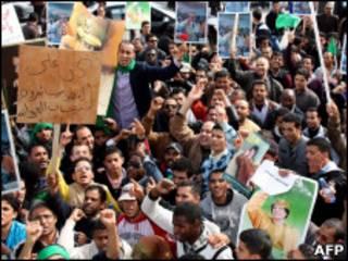 تظاهرات طرفداران رهبر لیبی در طرابلس