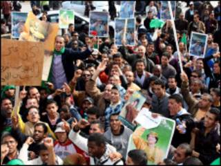 Manifestanes pró-governo na Líbia