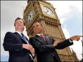 Кэмерон и Обама в Лондоне в 2008 году