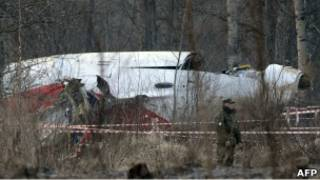 Обломки польского Ту-154 в Смоленске
