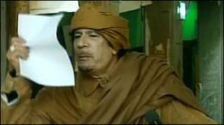 Ông Gaddafi phát biểu trên truyền hình